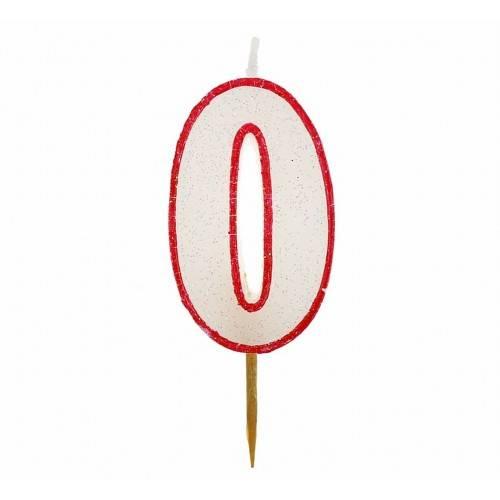 Cyfra 0 biała brokatowa z czerwonym konturem