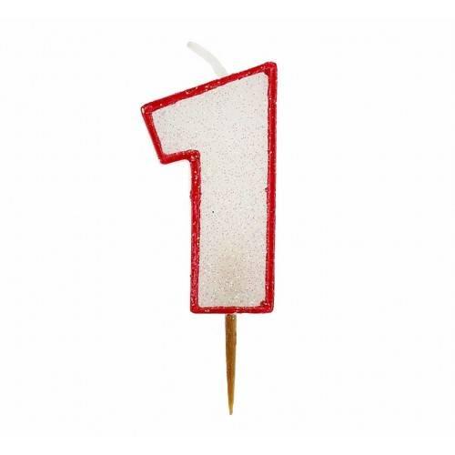 Cyfra 1 biała brokatowa z czerwonym konturem