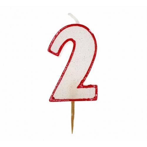 Cyfra 2 biała brokatowa z czerwonym konturem