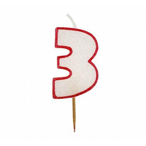 Cyfra 3 biała brokatowa z czerwonym konturem