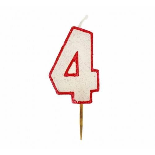 Cyfra 4 biała brokatowa z czerwonym konturem