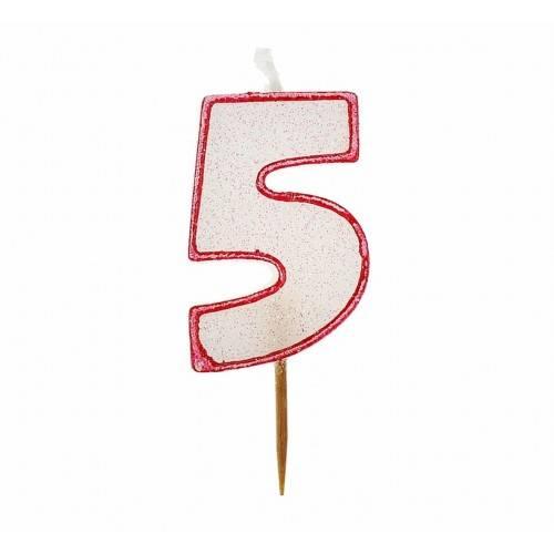 Cyfra 5 biała brokatowa z czerwonym konturem
