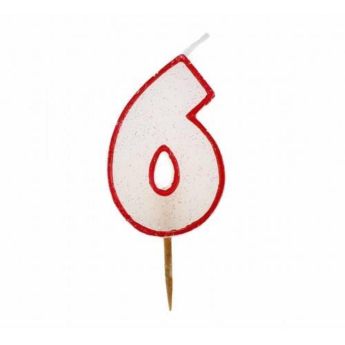Cyfra 6 biała brokatowa z czerwonym konturem