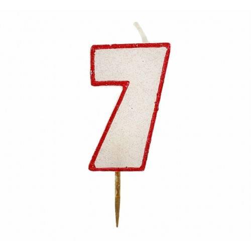 Cyfra 7 biała brokatowa z czerwonym konturem
