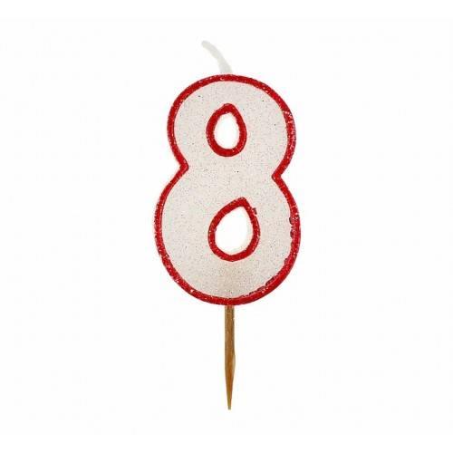 Cyfra 8 biała brokatowa z czerwonym konturem