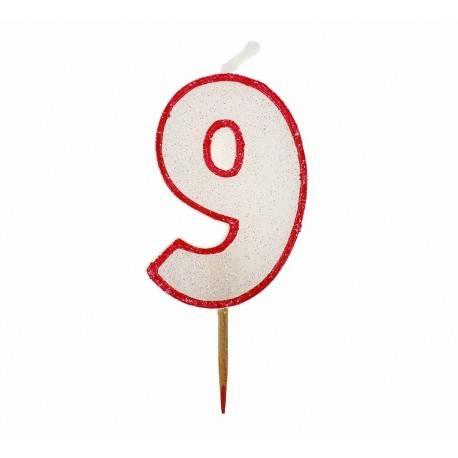 Cyfra 9 biała brokatowa z czerwonym konturem
