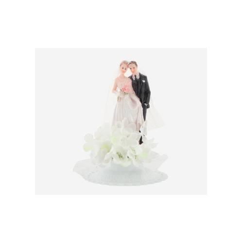 Dekoracja na tort Para Młoda - mała klasyczna w hortensjach - biały