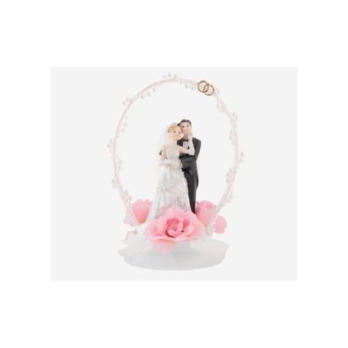 Dekoracja na tort Para Młoda - mała klasyczna w ramce - różowy