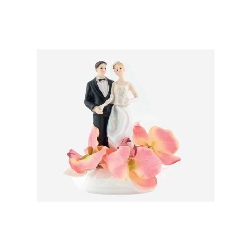 Dekoracja na tort Para Młoda - duża klasyczna w różowych liliach