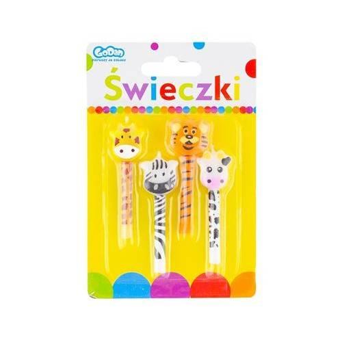 Świeczki z główkami Zoo 4szt