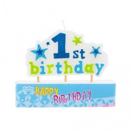 """Świeczka na pikerach """"1st Birthday"""", niebieska"""