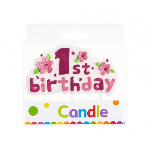 """Świeczka na pikerach """"1st Birthday"""", różowa"""