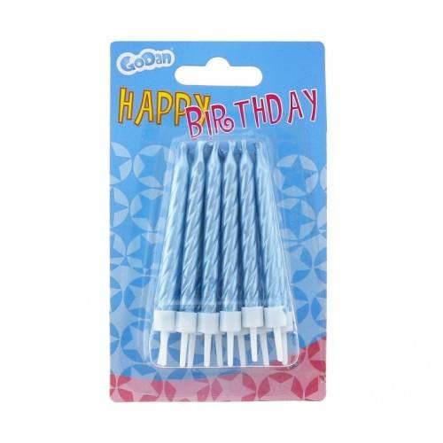 Świeczki urodzinowe spiralne , niebieskie 12 szt