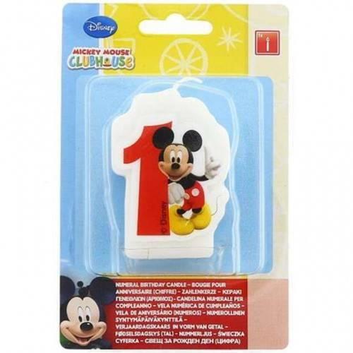 Świeczka cyfra 1 z Myszką Miki