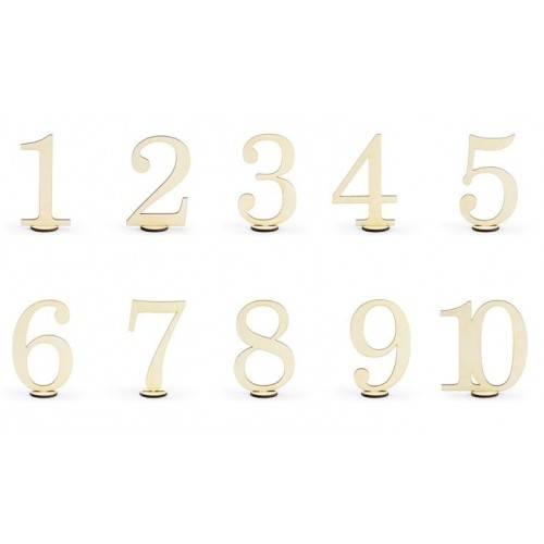 Drewniane numery na stół, 10,5cm (1 op. / 10 szt.)