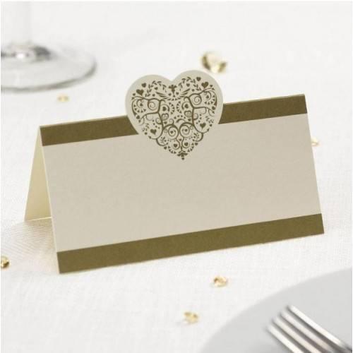 Karnety VINTAGE ROMANCE, ecru / złote, 50 szt.