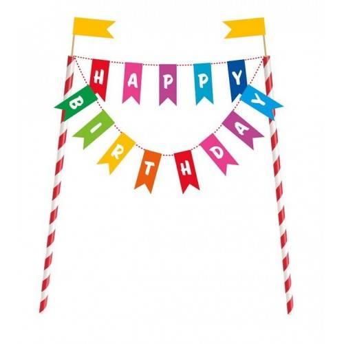 """Topper na tort """"Happy Birthday"""""""