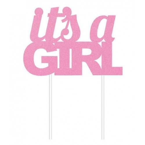 Topper na tort It's a Girl, różowa