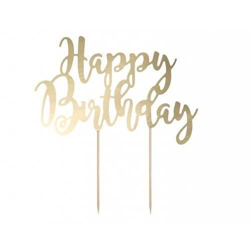 Topper na tort Happy Birthday, 22,5cm, 3 kolory