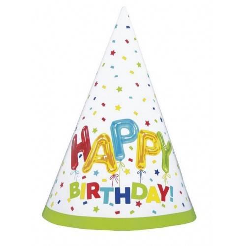 Czapeczki papierowe Happy Birthday, 8 szt.