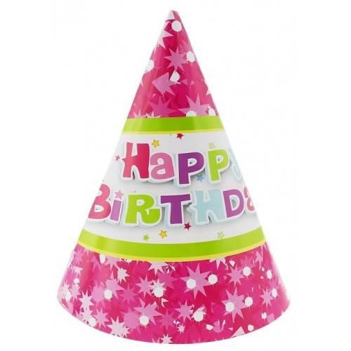 """Czapeczki papierowe """"Happy Birthday różowe"""", 6 szt."""