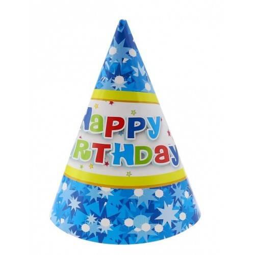 """Czapeczki papierowe """"Happy Birthday niebieskie"""""""