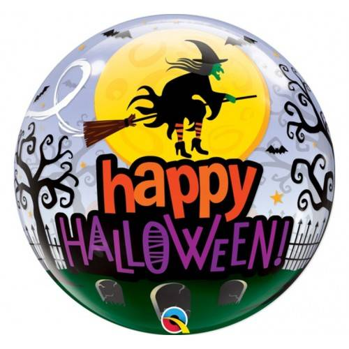 "Balon foliowy Bubbles ""Happy Halloween"" z wiedźmą"