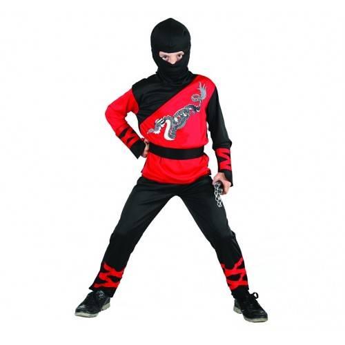 Strój dla dzieci Dragon Ninja (bluzka, spodnie, kaptur, nakładki na ręce, pas), rozm. 130/140 cm