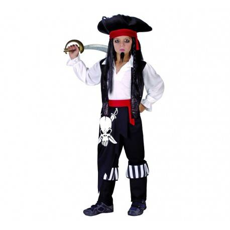 Strój dla dzieci Pirat kapitan (koszula z kamizelką, spodnie z pasem i cholewkami, kapelusz), rozm. 130/140 cm