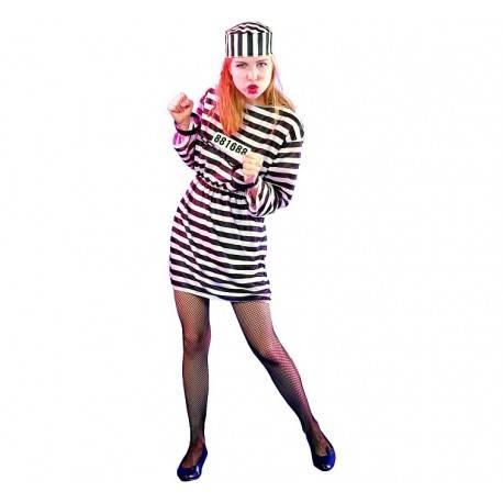 Strój dla dorosłych Więźniarka (sukienka, czapka) rozm. un.