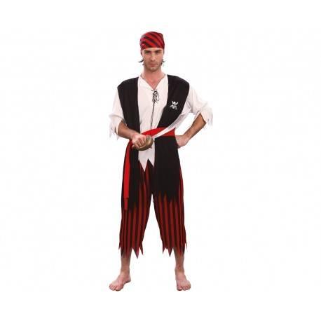 Strój dla dorosłych Pirat (koszula z doszytą kamizelką, pasek, spodnie, chusta na głowę), rozm. L