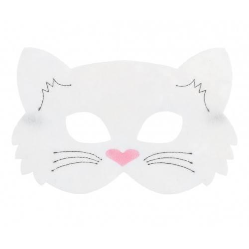 Maska filcowa Biały Kotek