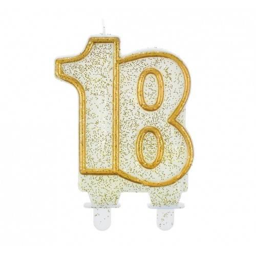 """Świeczka cyferka """"18"""", złoty kontur"""