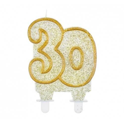"""Świeczka cyferka """"30"""", złoty kontur"""