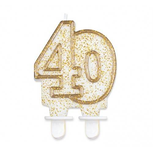 """Świeczka cyferka """"40"""", złoty kontur"""