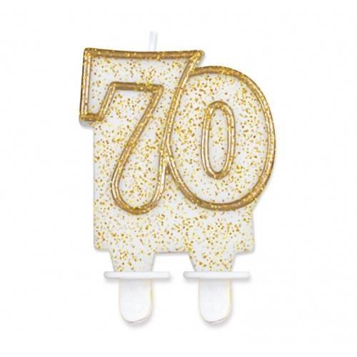 """Świeczka cyferka """"70"""", złoty kontur"""
