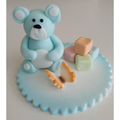 DEKORACJA NA TORT CUKROWY MIŚ NIEBIESKI DUŻY
