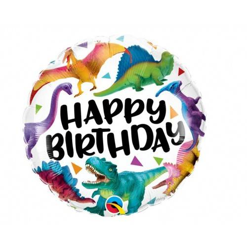 BALON FOLIOWY OKRĄGŁY HAPPY BIRTHDAY DINOSAURS 18""