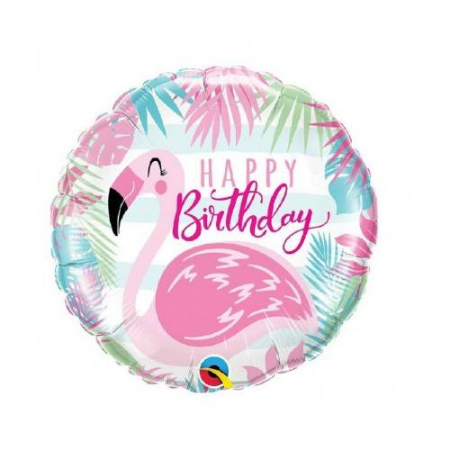 BALON FOLIOWY OKRĄGŁY HAPPY BIRTHDAy PINK FLAMINGO 18""