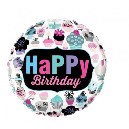 BALON FOLIOWY OKRĄGŁY HAPPY BIRTHDAY CUPCAKES EMBLEM 18""