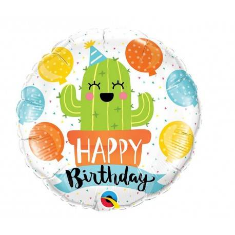 BALON FOLIOWY OKRĄGŁY HAPPY BIRTHDAY PARTY CACTUS 18""