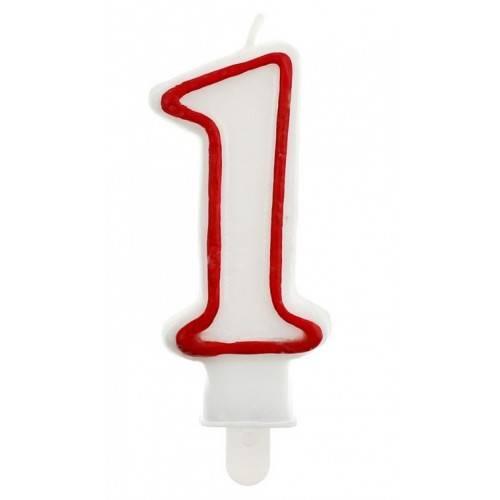 """Świeczka cyferka """"1"""", czerwony kontur"""