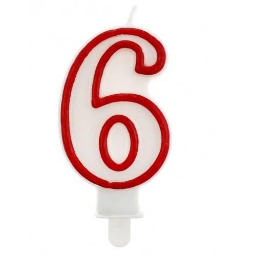 """Świeczka cyferka """"6"""", czerwony kontur"""