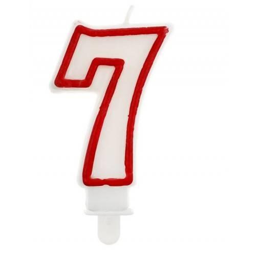 """Świeczka cyferka """"7"""", czerwony kontur"""