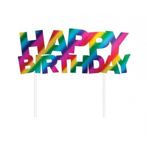 TOPPER HAPPY BIRTHDAY TĘCZOWY