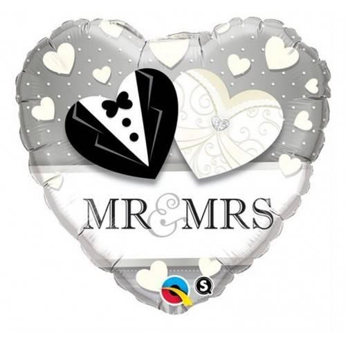 "BALON FOLIOWY SERCE ""MR&MRS"""