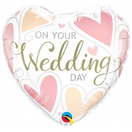 """BALON FOLIOWY SERCE """"ON YOUR WEDDING DAY"""""""