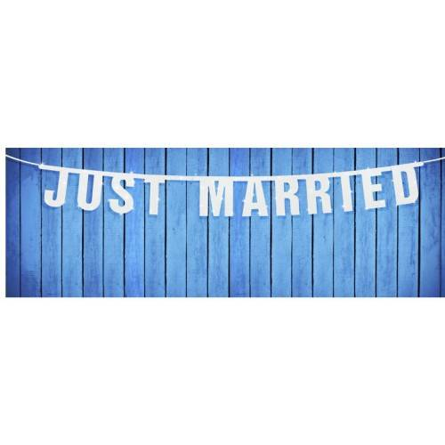 BANER Z NAPISEM :JUST MARRIED""