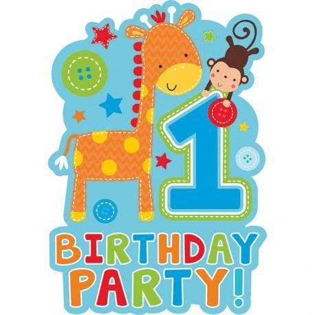 """ZAPROSZENIA FIRST BIRTHDAY PARTY """"WILD BOY"""""""