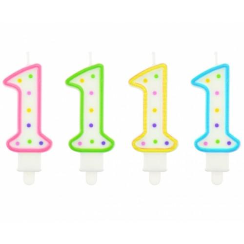 Cyfra 1 duża biało- zielona